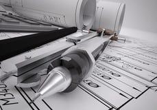 Technische Konstruktionszeichnungen und Werkzeuge der Rollen Stockfoto