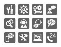 Technische ondersteuning, grijze pictogrammen, monochromatisch, Stock Foto's