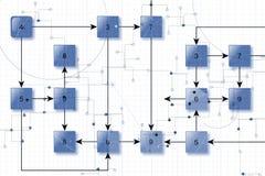 Technische schakelschemaachtergrond Stock Afbeeldingen