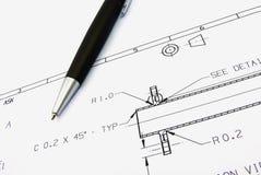 Technische schets en pen Stock Afbeeldingen