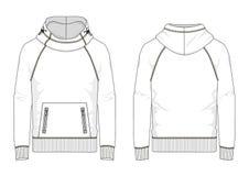 Technische schets van mensensweatshirt in vector royalty-vrije stock afbeelding