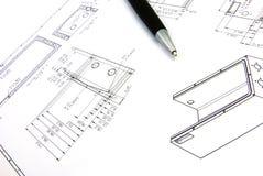 Technische Skizze und Feder 2 Stockfoto
