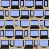 Technische sociale media achtergrond Naadloos patroon van pictogrammengadgets Stock Foto's