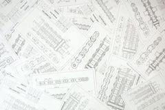 Technische technische Konstruktionszeichnungen Stockfotos