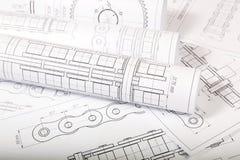 Technische technische Konstruktionszeichnungen Stockfotografie
