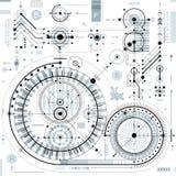 Technische tekening met gestormde lijnen en geometrische vormen, vector royalty-vrije illustratie