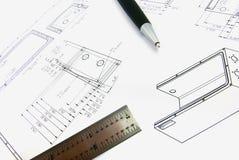 Technische tekening met pen en heerser 2 Royalty-vrije Stock Afbeelding
