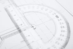 Technische Unterlagen für Gebäude lizenzfreie stockbilder