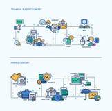 Technische Unterstützung, Finanzikonen-Geschäfts-Konzept-Zusammensetzungen eingestellt Stockfotografie