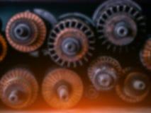 Technische vage achtergrond Generatortoestellen en winding stock foto