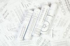 Technische Zeichnung der Antriebsrollenkette Lizenzfreie Stockfotografie