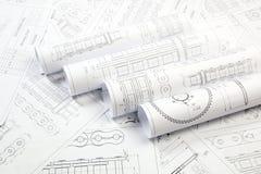 Technische Zeichnung der Antriebsrollenkette Stockfotografie