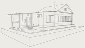 Technische Zeichnung des grauen Hauses lizenzfreie stockfotos