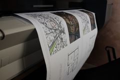 Technische Zeichnung des Plotterdruckes stockfoto