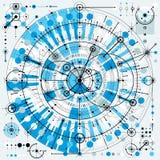 Technische Zeichnung mit ausgestrichenen Linien und geometrischen Formen, Vektor Stockfoto