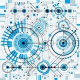 Technische Zeichnung mit ausgestrichenen Linien und geometrischen Formen, Vektor Stockfotografie