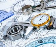 Technische Zeichnung und Hilfsmittel Lizenzfreie Stockfotos