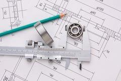 Technische Zeichnung und Lager Lizenzfreies Stockfoto