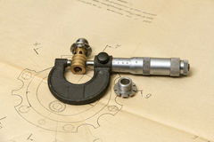 Technische Zeichnung und Messgeräte Lizenzfreies Stockfoto