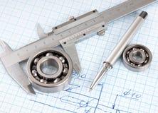 Technische Zeichnung und Schieber mit Lager Stockbild