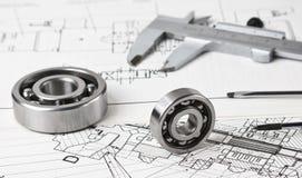 Technische Zeichnung und Tasterzirkel Lizenzfreie Stockbilder