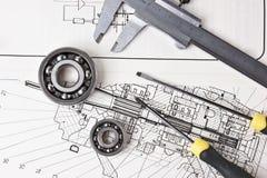Technische Zeichnung und Tasterzirkel Lizenzfreies Stockbild