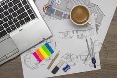 Technische Zeichnungen Lizenzfreies Stockbild
