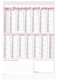 technischer Kalender 2011 mit Tabellierprogrammen Stockfotografie