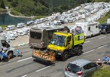 Technischer LKW auf der Straße von Le-Tour de France 2014 Lizenzfreie Stockfotografie