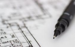Technischer Stift auf Zeichnung Stockbilder