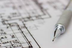 Technischer Stift auf Zeichnung Lizenzfreies Stockfoto