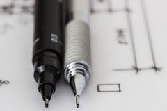 Technischer Stift und Bleistift auf Zeichnung Stockbild