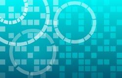 Techno在蓝色屏幕上的摘要背景 免版税库存照片