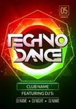 Techno音乐海报 电子俱乐部深刻的音乐 音乐事件迪斯科恍惚声音 夜党邀请 DJ飞行物海报 向量例证