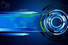 Techno Background. Illustration of abstract techno background with world map Royalty Free Stock Photography