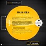 Techno bakgrund med den stora gula cirkeln Royaltyfria Foton