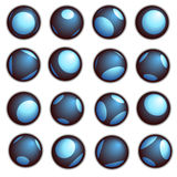 Techno balowy guzik w błękicie na białym tle Zdjęcia Stock