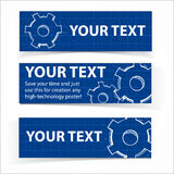 Techno blue background with gears and sample text Royalty Free Stock Photos