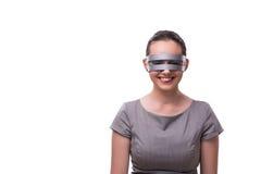 Techno cyber kobieta odizolowywająca na białym tle Fotografia Royalty Free