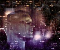 techno 3D Hintergrund mit männlichem Kopf und Programmiercode Stockfotos