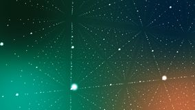 Hi-tech Cyberspace with Spotted Lines. A techno 3d illustration of a dark green and blue cyberspace. It is full of spotted rhombuses with crystal looking Royalty Free Stock Image