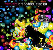 Techno Discoteque Flyer. Rainbow Techno Discoteque Flyer with Abstract DJ silhouette Royalty Free Stock Image