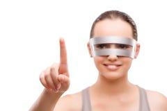 Techno dziewczyna naciska wirtualnego guzika odizolowywającego na bielu Zdjęcie Stock