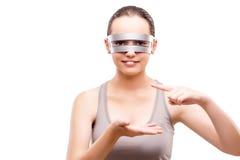 Techno dziewczyny mienia gands odizolowywający na bielu Fotografia Royalty Free