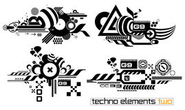 Techno elemetnts set two. Set of techno compositions for print multimedia and web Royalty Free Stock Photography
