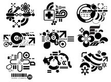 Techno elemetnts TWENTY. Set of techno compositions for print multimedia and web Stock Image