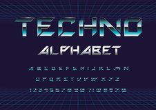 Techno font vector illustration