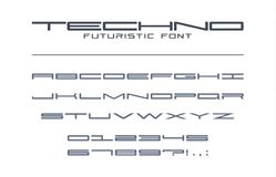 Free Techno Futuristic Wide Font. Geometric, Sport, Future, Digital Technology Alphabet. Letters And Numbers For Military Royalty Free Stock Photography - 123994757