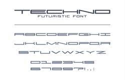 Techno futuristisk bred stilsort Geometriskt sport, framtid, alfabet för digital teknologi Bokstäver och nummer för militär Royaltyfri Fotografi