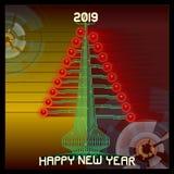 Techno Gelukkige 2019 Technologickerstboom Vectorillustratie van 2019 nieuwe jaargroeten stock illustratie